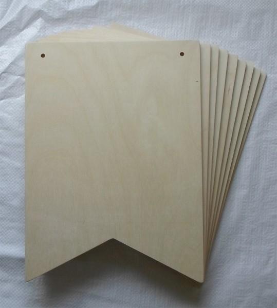 1 Stück Sperrholzplatte in Wimpelform, 33x24 cm