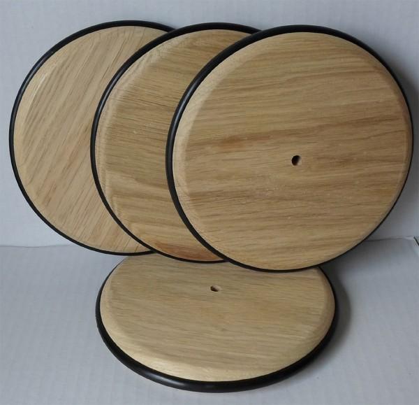 Holzrad mit Gummireifen, 140 mm Ø, Eiche