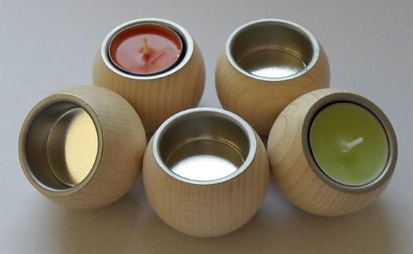 Teelichthalter Kugelform, Buche, mit Metalleinsatz