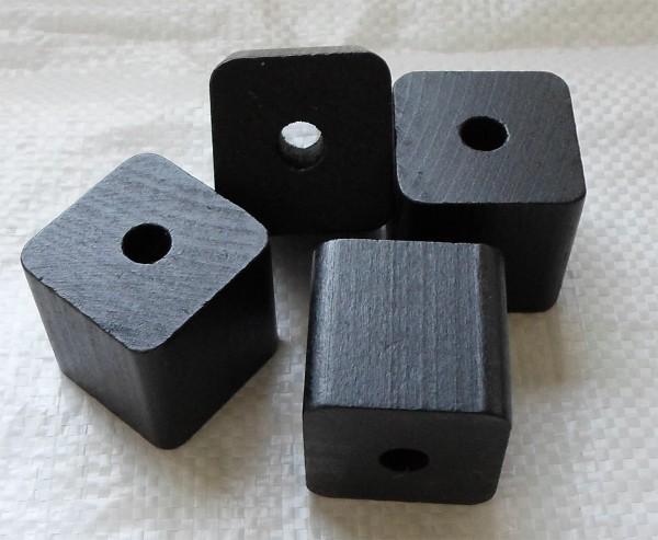 4 Stück Würfel schwarz lackiert, 40x40 mm mit Bohrung