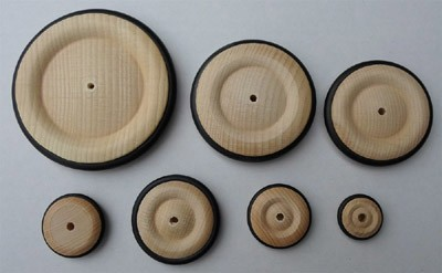 4 Stück Rad mit Gummireifen 23 mm Ø
