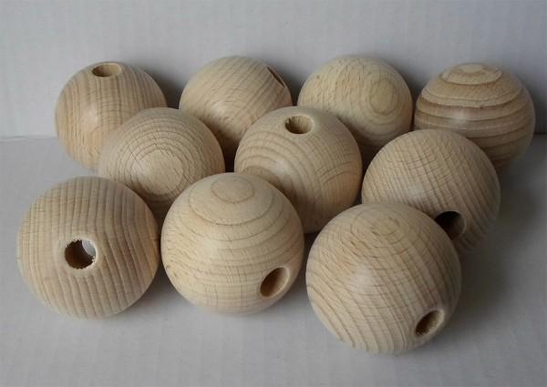 6 Stück Holzkugeln 45 mm mit 10 mm Bohrung