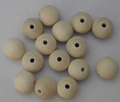 Holzkugel fein gerillt 16 mm Ø