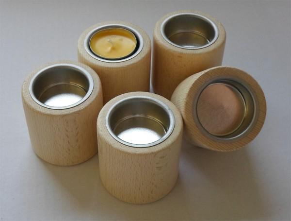 Teelichthalter Zylinderform, Buche, mit Metalleinsatz