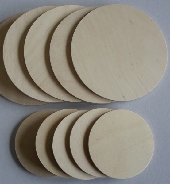 Sperrholzscheiben 40 mm Ø, 5 mm Dicke