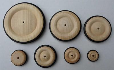 4 Stück Rad mit Gummireifen 35 mm Ø