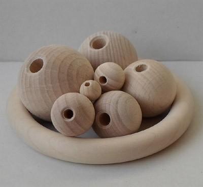 Holzkugeln 30 mm Ø mit Halbbohrung