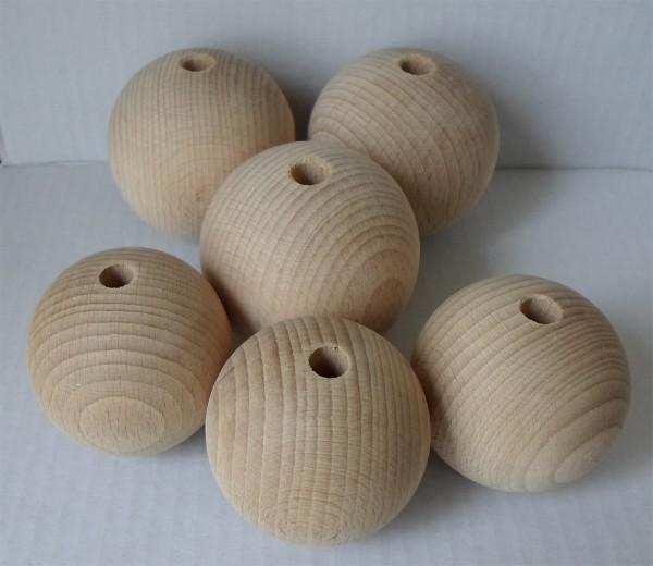 Holzkugel 60 mm Ø mit Bohrung