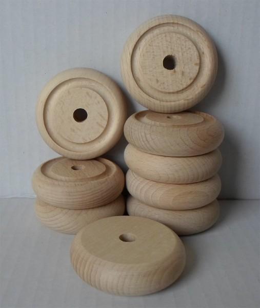 Holzräder aus Buche, profiliert, 53 mm Ø