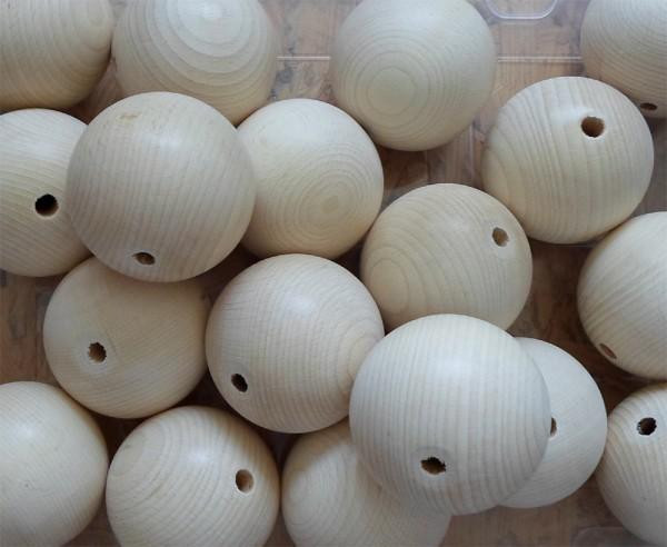 1 Stück Holzkugeln 80 mm Ø mit Bohrung, Buche
